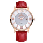 SKONE 273104 Women's Leather Band Quartz Wristwatch w/ Calendar - Red