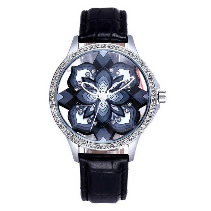 SKONE Stereoscopic Hollow Flower Dial PU Band Watch - Preto