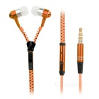 Metal zipper style 3.5mm stereo music earphones with mic - orange