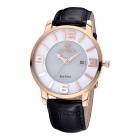SKONE 273102 Women's Leather Band Quartz Wristwatch w/ Calendar -Black