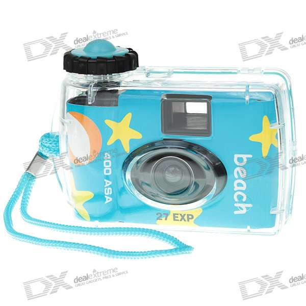 Disposable Waterproof Camera with Strap (Dark Blue)