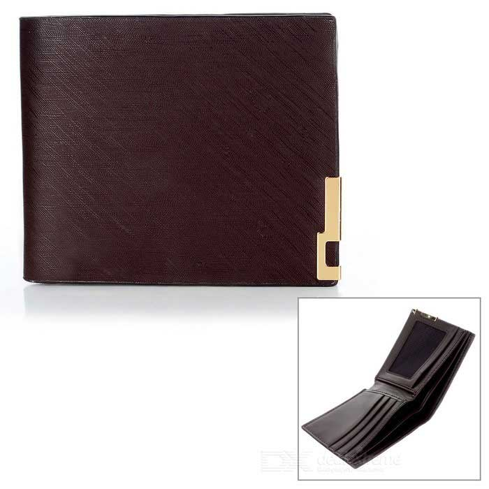 Stylish Folded PU Leather Short Wallet Purse for Men - Coffee