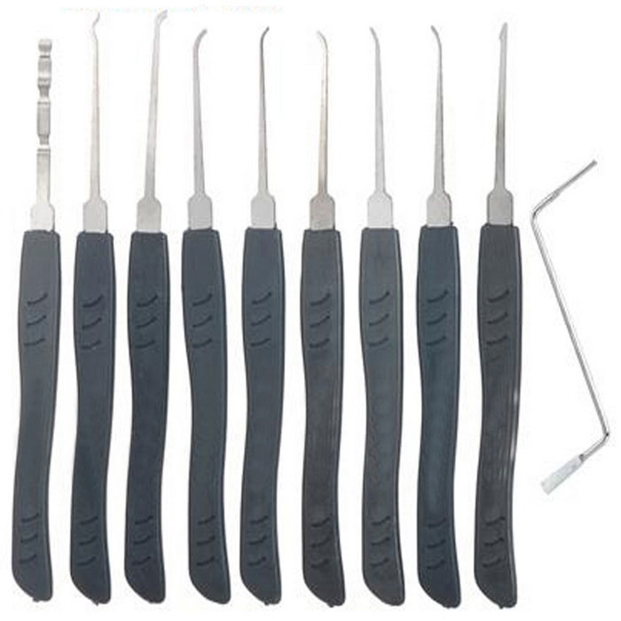 Jtron 10050193 10PCS Lock Picks Set for Locksmith - Gray + Silver