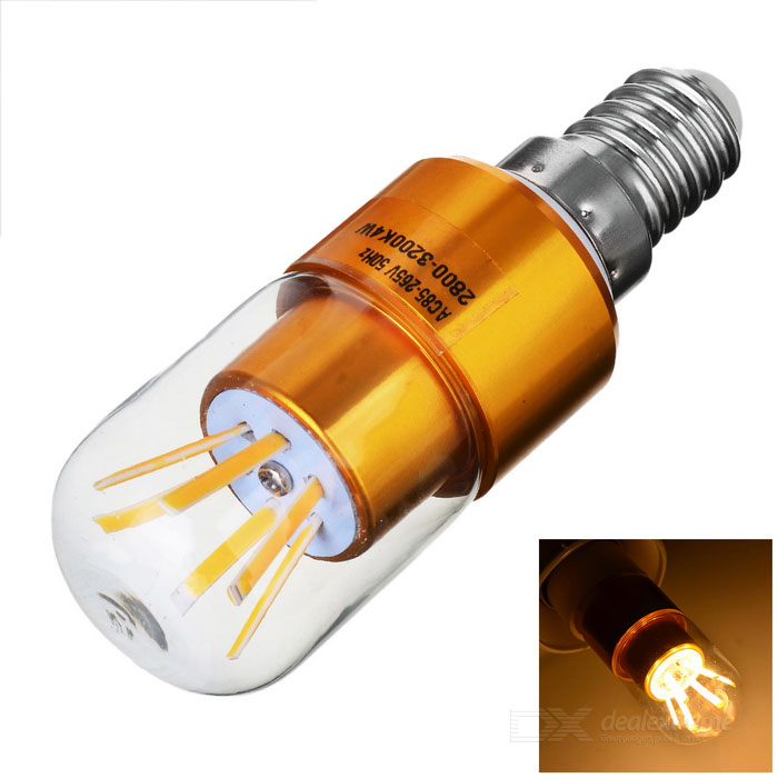 E14 4W 6-COB LED Lamp Bulb luz morna Branco - Golden (AC 85 ~ 265V)