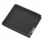 Stylish Folded PU Leather Short Wallet Purse for Men - Black