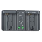 Dual Slot Charger for Nikon EL18, EL4A, Canon E4  - Grey