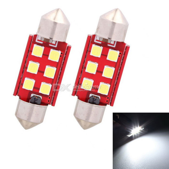 MZ 36 milímetros Festoon 3W 6-SMD LED carro lâmpada de leitura Cold White Light (2 PCS)