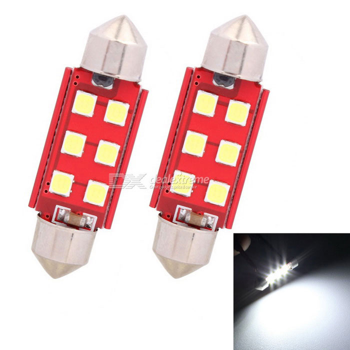 MZ 39mm Girlande 3W 6-SMD LED Auto-Leselampe Cool White Light (2 Stück)