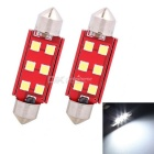 MZ 41mm Festoon 3W 6-SMD LED Car Reading Lamp Cool White Light (2 PCS