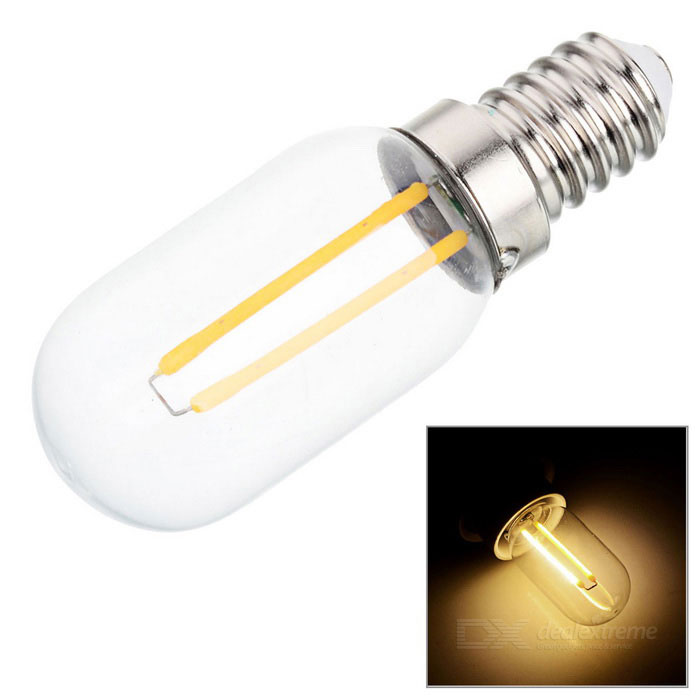 E14 2W Warm White Light LED Bulb - Silver + Transparent (AC 220V)