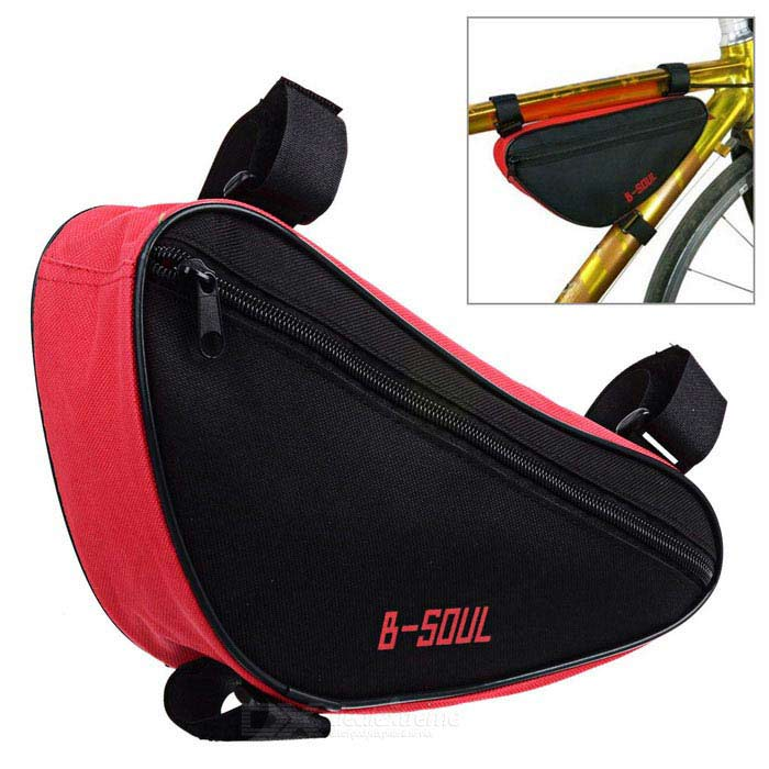 B-SOUL YA191 Nylon Triangle Bike Top Tube Bag - черный + красный