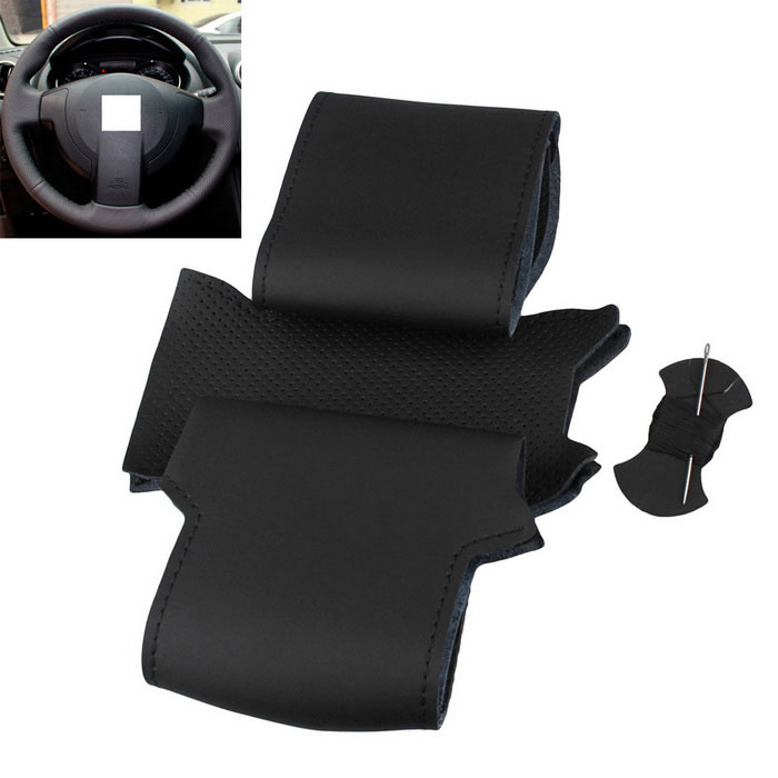 ZIQIAO couro genuíno Car Steering Wheel Cover - Black
