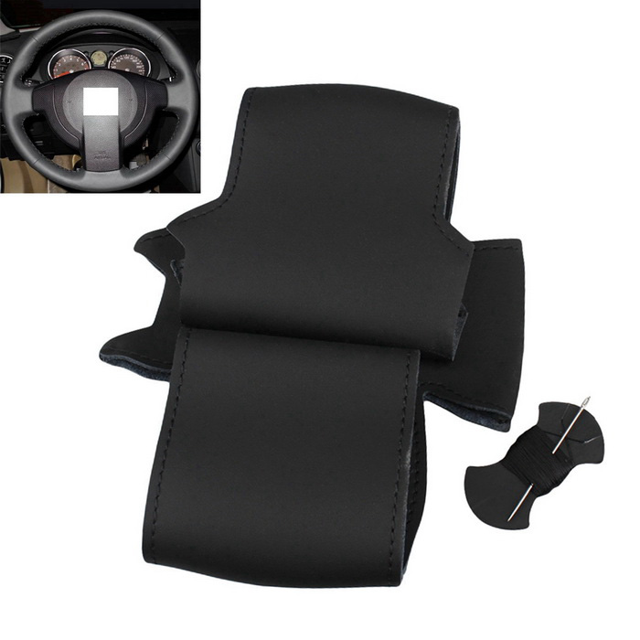 ZIQIAO Genuine Leather Car Steering Wheel Cover - Glossy Black