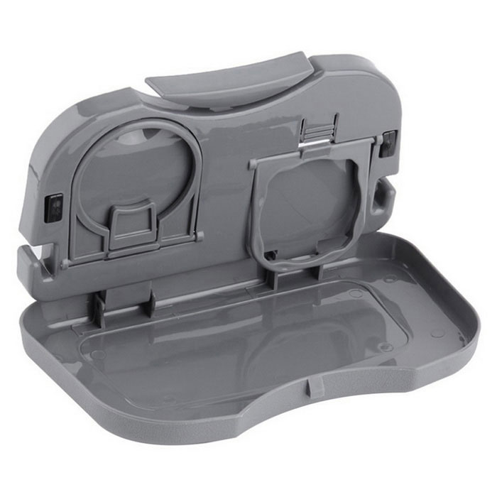 ZIQIAO Car Multi-Functional Travel Dining Tray Beverage Holder - GrayCar Holders and Organizer<br>Form  ColorGreyModel-Quantity1 DX.PCM.Model.AttributeModel.UnitMaterialABS +  PlasticShade Of ColorGrayTypeBagUsing WayFolding TypeMax. Load2 DX.PCM.Model.AttributeModel.UnitPacking List1 * Drink holder<br>