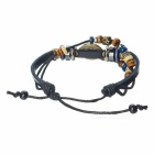Retro Eye Shape Beading Cow Split Leather Bracelet - Black + Dark Blue