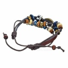 Retro Eye Shape Beading Cow Split Leather Bracelet - Brown + Dark Blue