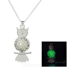 Glow-in-the-Dark Owl Style Pendant Necklace - Silver + Green