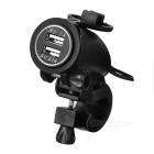 Motorcycle Waterproof Dual USB Charger w/ Green Light, Holder - Black