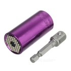 2-in-1 7~19mm Screwdriver Socket + 3/8 Connecting Rod Set - Purple