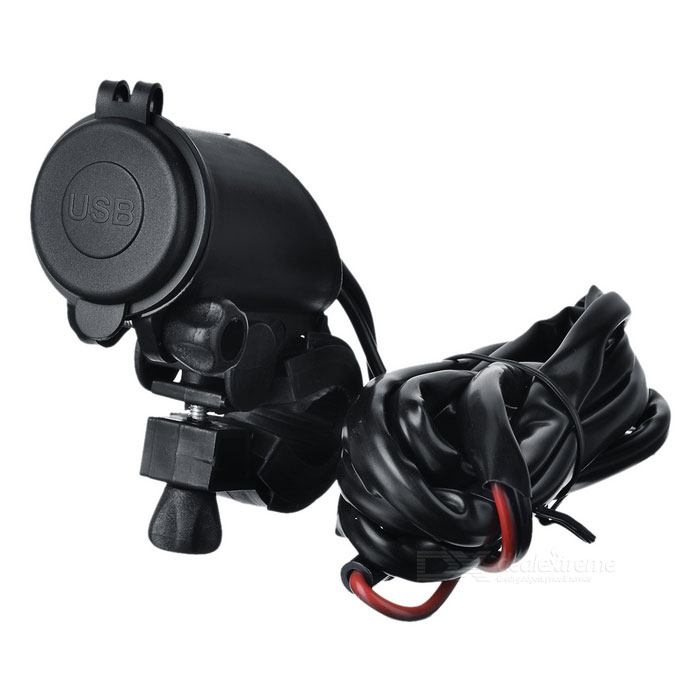 Motocicleta impermeable cargador dual USB w / Red Light, Holder - Negro