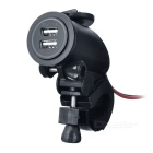 Motorcycle Waterproof Dual USB Charger w/ Blue Light, Holder - Black