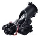 Universal Motorcycle Waterproof Dual USB 5V/3.1A Charger - Black