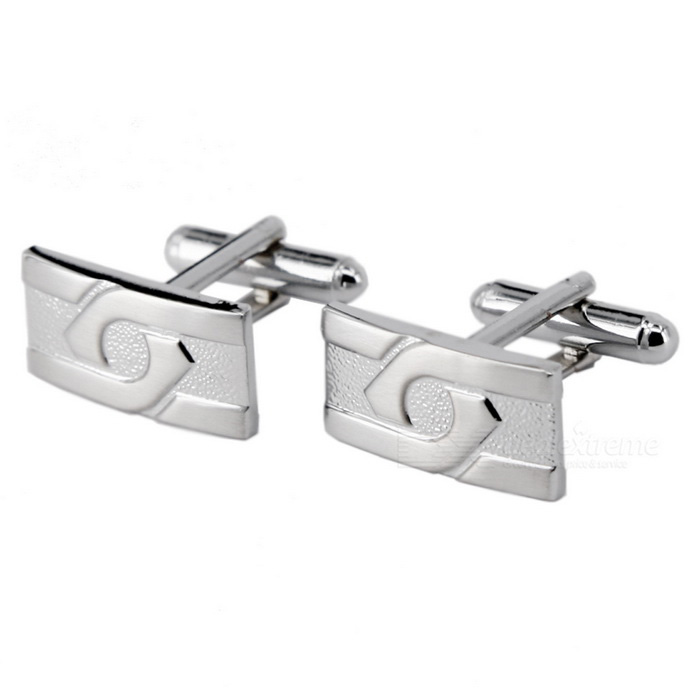 Men's Jewelry Brass Dual Rectangular Shape Cufflinks - Silver (Pair)
