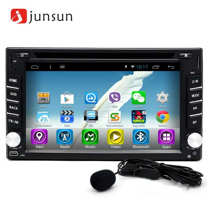 Junsun 2 DIN 6.2 Car DVD Player Radio GPS Navigation - BlackCar DVD Players<br>Form  ColorBlack GreyModel-Quantity1 DX.PCM.Model.AttributeModel.UnitMaterialComposite materialsStyle2 Din In-DashFunctionGPS,Dual Zone,Subwoofer Output,Radio,AV-IN,Others,Steering Wheel Control,Microphone, Rear view camera, WiFi connectivity, Interconnection phones Button colorful lightsDVDCompatible MakeUniversalCompatible Car ModelUniversal for 2 Din modelsCompatible Year1998,1999,2000,2001,2002,2003,2004,2005,2006,2007,2008,2009,2010,2011,2012,2013Screen Size6.2 inchesScreen Resolution800 * 480Touch Screen TypeYesDetachable PanelNoBrightness ControlYesMenu LanguageEnglish,French,German,Italian,Spanish,Portuguese,Russian,Polish,Greek,Danish,Norwegian,Dutch,Arabic,Turkish,Japanese,Korean,Hungarian,Persian,Malay,Slovak,Czech,Greek,Swedish,Finnish,Chinese Simplified,Chinese Traditional,Bulgarian,Norwegian,HebrewCPU ProcessorR16 Cortex A7 Quad-Core, 1.4GHzSupport MapIGO,Route66,TOMTOM,Garmin,SygicMain FrequencyOthers,1.4 DX.PCM.Model.AttributeModel.UnitStore CapacityOthers,1 DX.PCM.Model.AttributeModel.UnitMemory Card SlotStandard TF CardVoice Guidance CruiseYesGPS Dual ZoneYesOperating SystemOthers,Android 4.4Audio FormatsMP3,WMA,APE,FLAC,OGG,AC3,DTS,AACVideo FormatsRM,RMVB,AVI,DIVX,MKV,MOV,HDMOV,MP4,M4V,PMP,AVC,FLV,VOB,MPG,DAT,MPEG,H.264,MPEG1,MPEG2,MPEG4,WMV,TPPicture FormatsJPEG,BMP,PNG,GIF,TIFF,jps(3D),mpo(3D)Station Preset Qty.30Support RDSfor European countriesRadio Response BandwidthAM: 520KHz-1700KHz,FM: 87MHz-110MHzRDSYesRadio TunerAM,FMBuilt-in MicrophoneYesBluetooth FunctionReceived Call,Dialled Call,Missed CallBluetooth VersionBluetooth V4.0Video OutputPAL,NTSC,HDMI,SECAMAmplifier Peak Power4 * 45 DX.PCM.Model.AttributeModel.UnitAudio ModeNatural,Rock,Jazz,Classical,Live,Dancing,PopularInterface PortUSB, TF, AUXAudio Input2 channelsAudio  Output4 channelsRearview Camera InputYesExternal Memory Max. Support32 DX.PCM.Model.AttributeModel.UnitVideo Input1 channelVideo Output2 channelsWorking Voltage   DC 10~16 DX.PCM.Model.AttributeModel.UnitWorking Temperature- 20~+ 65 DX.PCM.Model.AttributeModel.UnitStorage Temperature- 20~+ 80COther FeaturesMicrophone, Rear view camera, Wi-Fi connectivity, Interconnection phones, Button colorful lights, DVDPacking List1 * Car DVD player1 * VW power cable (18cm)1 * GPS antenna (300cm)2 * Metal frame1 * English manual1 * Microphone (150cm)1 * Frame1 * Remote control (With a button battery 3V)1 * USB adapter cable (15cm)<br>