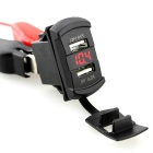 IZTOSS Dual Port USB Car Charger w/ Red LED Light Voltmeter - Black
