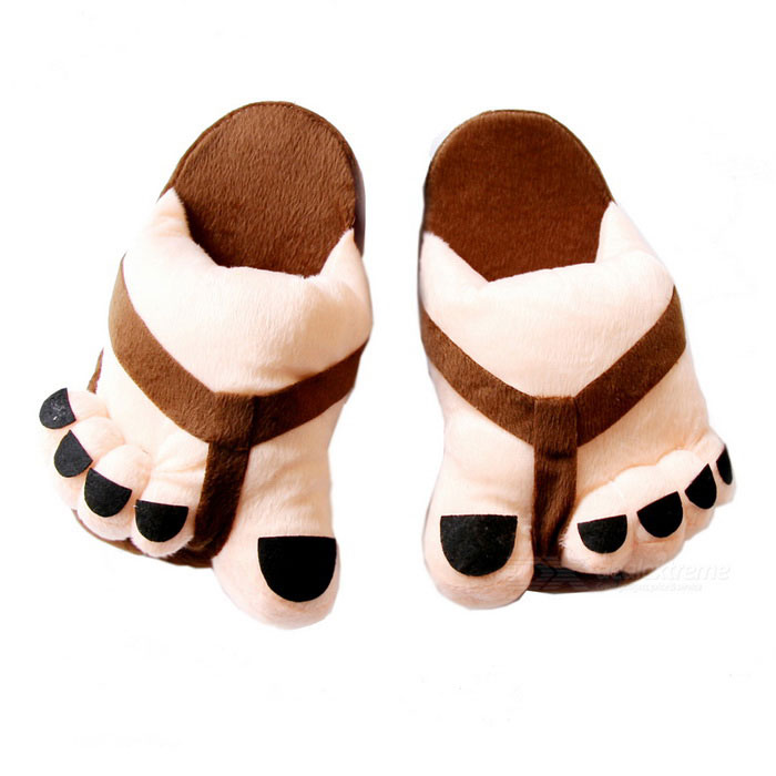 Cartoon Style Cute Couple Big Feet Warm Shoes - Nude + Brown (Pair)