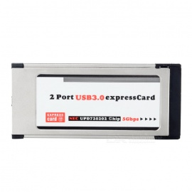 2 Port USB 3.0 Express Card 34mm Adapter for laptop - Silver