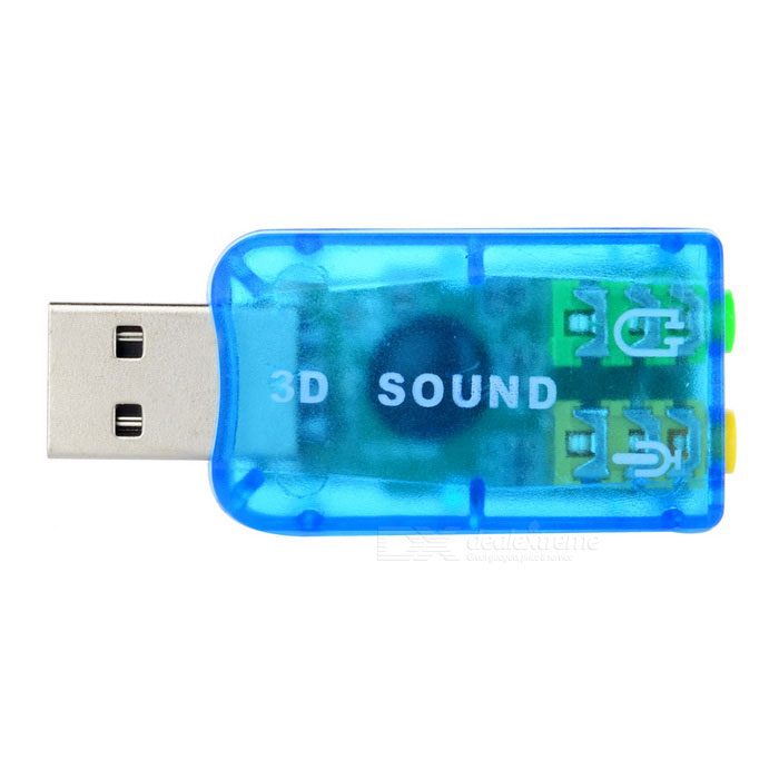 Mini USB 2.0 3D Sound Card Adapter - azul translúcido