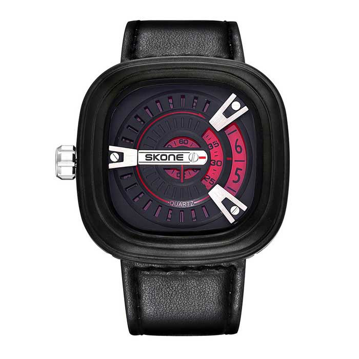 SKONE Men's Square Dial PU Watchband Quartz Watch - Black + Red