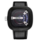 SKONE Men's Square Dial PU Watchband Quartz Watch - Black + Blue