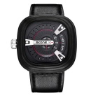 SKONE Men's Square Dial PU Leather Watchband Quartz Watch - Black