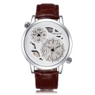 SKONE Men's Double Movement Dual Time Zone Watch - Coffee + White