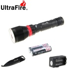 Outdoor 887lm Flashlight with Multi-functional Keychain Knife Tool Kit - Black (2 * 18650 / 26650)