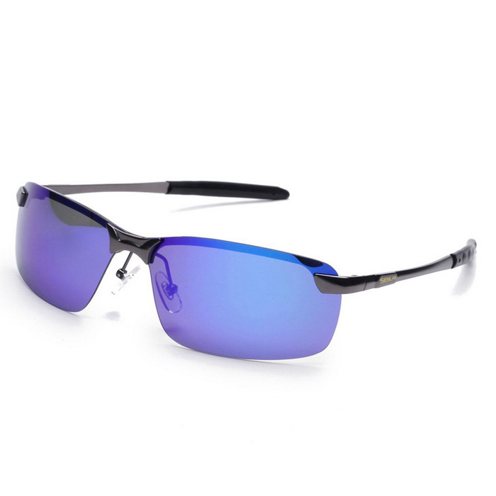 SENLAN 9327P4 Men's Polarized Sunglasses - Gun Color Frame + Blue Lens