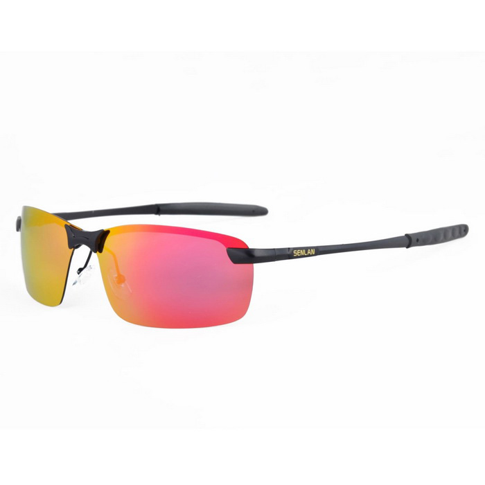 SENLAN 9327P3 Mens' Polarized Sunglasses - Black + Red