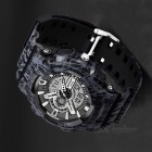 SANDA 299 30m Waterproof PU Strap Camouflage Sports Watch - Black