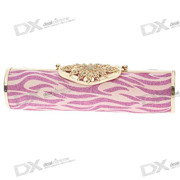 Luxurious Evening Bag Handbag for Party and Wedding (Red + Pink + Gold)