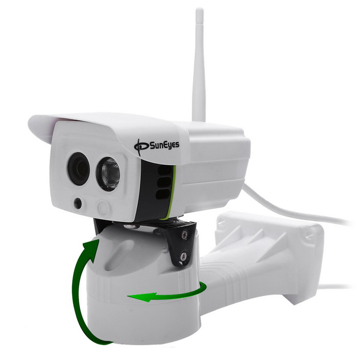 SunEyes SP-P701EWPT Outdoor 720P HD Pan / Tilt IP Camera - White (UK)IP Cameras<br>Form  ColorWhitePower AdapterUK PlugModelSP-P701EWPTMaterialABSQuantity1 DX.PCM.Model.AttributeModel.UnitImage SensorCMOSImage Sensor SizeOthers,1/4Pixels1.0MPLens3.6mmViewing AngleOthers,70 DX.PCM.Model.AttributeModel.UnitVideo Compressed FormatH.264Picture Resolution1280*720PFrame Rate20fpsInput/OutputNOAudio Compression FormatNoMinimum Illumination0.05 DX.PCM.Model.AttributeModel.UnitNight VisionYesIR-LED Quantity1Night Vision Distance0-7 DX.PCM.Model.AttributeModel.UnitWireless / WiFi802.11 b / g / nNetwork ProtocolTCP,IP,UDP,HTTP,SMTP,FTP,DHCP,NTP,DDNS,uPnP,PPPoE,TFTP,ARPSupported BrowserIE 6.0 and above,FirefoxSIM Card SlotNoOnline Visitor10IP ModeDynamicMobile Phone PlatformAndroid,iOSFree DDNSnoIR-CUTYesBuilt-in Memory / RAMNoLocal Memoryyes with SlotMemory CardMicro SD CardMax. Memory Supported32GMotorYesRotation AnglePan: 255,  Tilt:50ZoomNOSupported LanguagesEnglish,Simplified ChineseWater-proofIP66Rate Voltage12VRated Current2 DX.PCM.Model.AttributeModel.UnitCertificationCE, FCC, RoHSPacking List1 * Camera1 * CD1 * Power adapter (AC 100-240V /UK plug / 110cm-cable)1* Antenna<br>