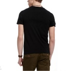 J1063 3D Printing Round Neck Men's Short-sleeved T-shirt - Black (XXL)