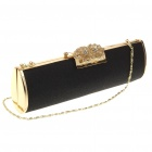 Luxurious Evening Bag Handbag for Party and Wedding (Black + Gold)