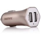 REMAX RC-C204 Dual USB Car Charger Cigarette Lighter - Champagne Gold