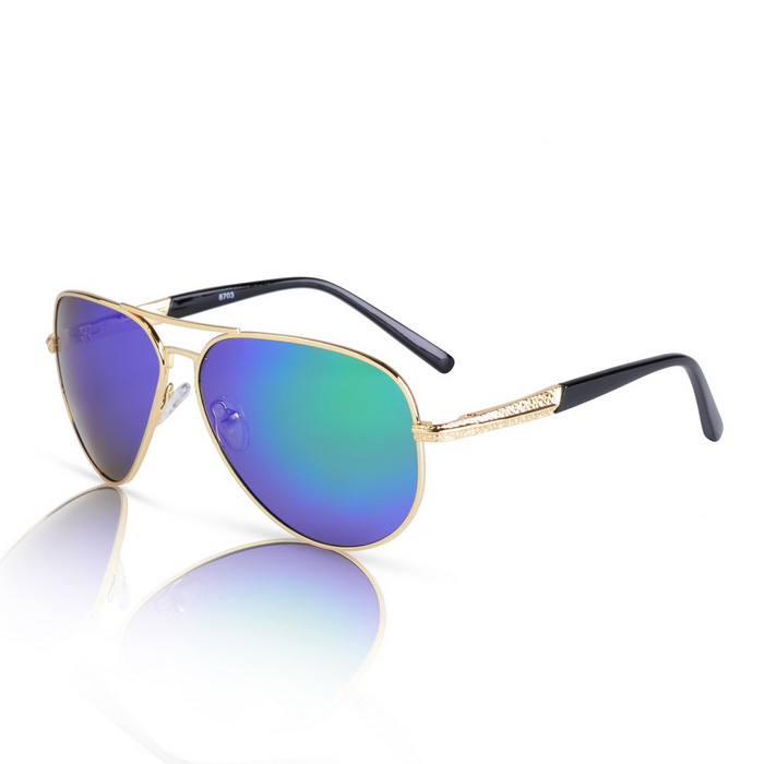 SENLAN 8703P2 Men's Polarized Sunglasses - Gold + Green