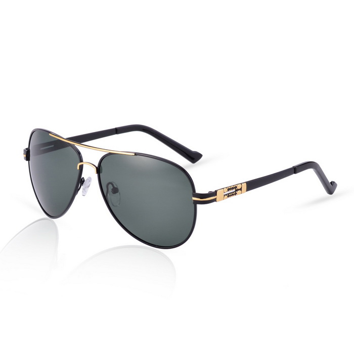 SENLAN 8707P1 Men's Polarized Sunglasses - Black + Dark Green