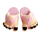 Cartoon Style Cute Couple Big Feet Warm Shoes - Nude + Pink (Pair)