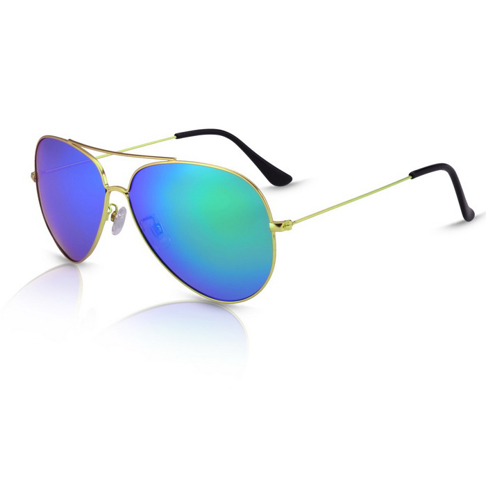 SENLAN 9326P3 Unisex Polarized Sunglasses - Gold + Green