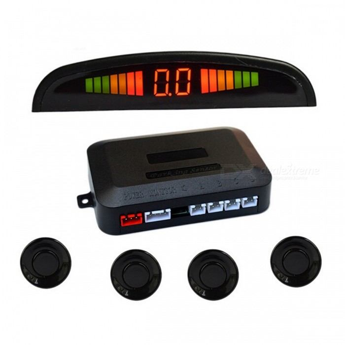"0.6"" Wired 4 Parking Sensors Car Reversing Radar System - Black"